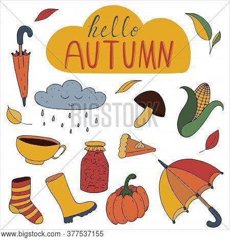 Autumn Colored Doodles - Umbrella, Rain, Corn, Rubber Boots, Tea Cup, Pumpkin, Freehand Drawing, Vec