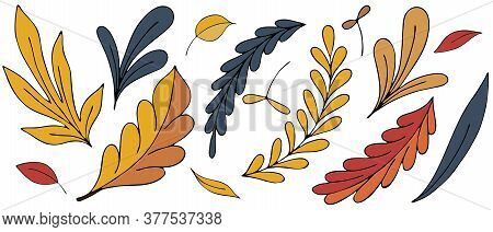 Colorful Autumn Leaves And Twigs - Red, Orange, Yellow, Blue, Freehand Drawing, Vector Set Of Elemen