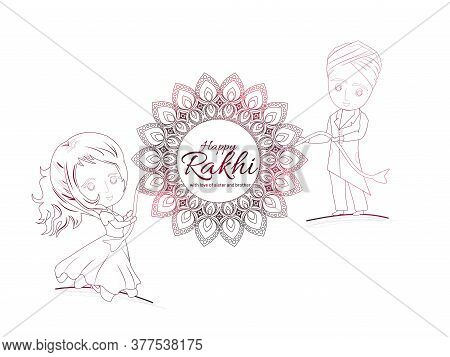Illustration Of Greeting Card With Decorative Rakhi For Raksha Bandhan. Rakhi Sale And Discount Soci