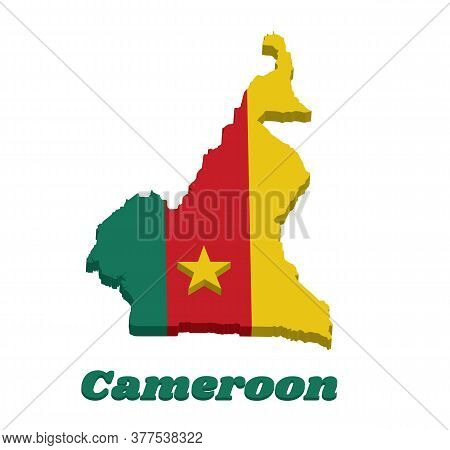 3d Map Outline And Flag Of Cameroon, A Vertical Tricolor Of Green, Red And Yellow, With A Gold Star