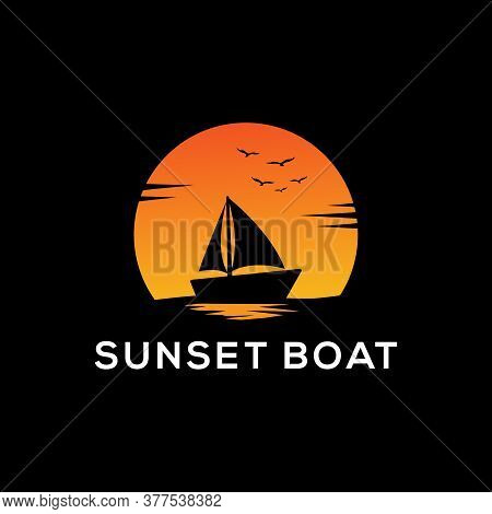Sunset Boat Silhouette Logo Design With Dark Backgrounds, Sailboat Vector Sign And Symbol
