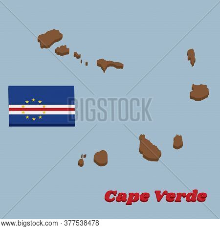 3d Map Outline And Flag Of Cape Verde, Horizontal Bands Of Blue White And Red With The Circle Of Ten