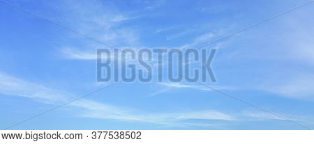 Blurred Sky Blue Background. Cloud Clear Sky Blue Background.