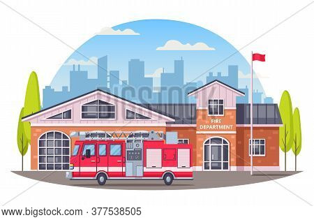 Firefighters Cartoon Composition With Round Cityscape Silhouette Background And Fire Department Buil