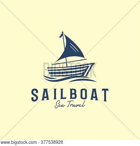 Wood Sailboat Logo Designs Template, Yacht Sea Travel Logo Icon And Symbol