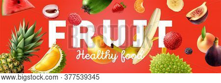 Horizontal Colored And Realistic Fruits Horizontal Poster With Fruit Levitation And Big Headline Vec