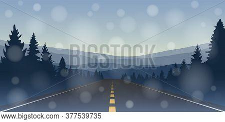 Asphalt Road In The Mountains Winter Landscape Vector Illustration Eps10