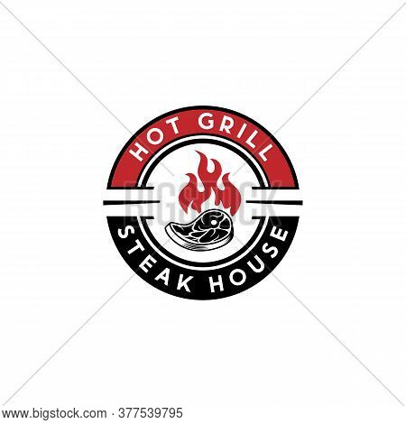 Hot Grill Steak House Logo Design Vector, Meat Grill Smoke House Logo Design, Grill And Bar Sign Sym
