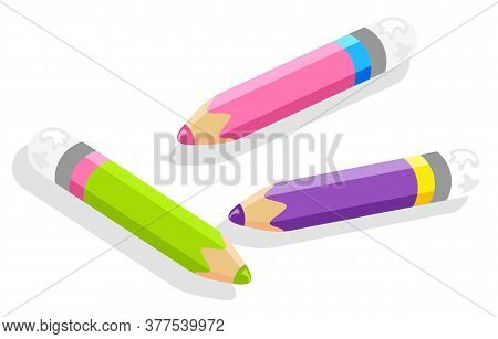 School Stationery Supply, 3d Isometric Set Of Pencils Or Drawing Tool Isolated Object Vector. Draw O