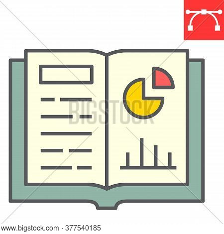 Homework Color Line Icon, School And Education, Notebook Sign Vector Graphics, Editable Stroke Color