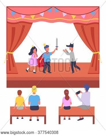 Illustration Of School Or Children S Theater Production. On Stage, The Children Participate In The P
