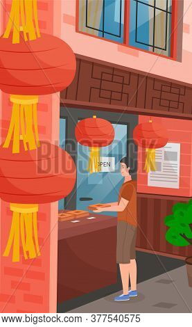 Chinese Street, Traditional Red Lanterns Close Up. A Tourist Is Shopping In A Chinese Store. Eastern