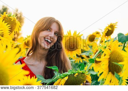 Happy Woman With Sunflwer Enjoying Nature And Laughing On Summer Sunflower Field.