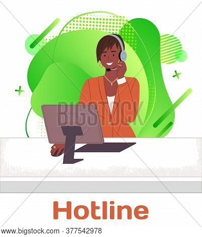 Black Woman Call Center Operator Or Receptionist Answers Calls With Headphones. Woman Works On A Cus