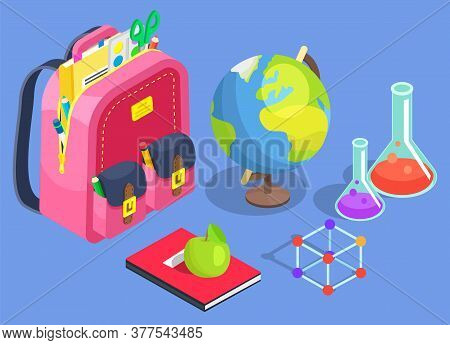 Chemistry And Geography Lessons Vector, Isolated Satchel With Book And Apple. Chemical Substance In