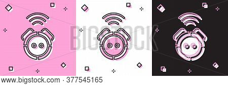 Set Robot Vacuum Cleaner Icon Isolated On Pink And White, Black Background. Home Smart Appliance For