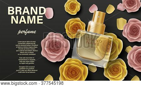 Cosmetics Product Perfume Advertising. Branding Package Design For Promotion, Banner, Poster. Perfum