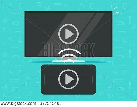Smartphone Screen Sharing Multimedia App Wirelessly Or Phone Cellphone Connected To Tv Streaming And