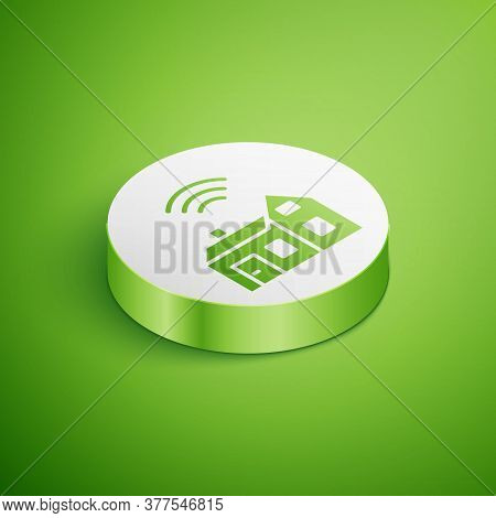 Isometric Smart Home With Wireless Icon Isolated On Green Background. Remote Control. Internet Of Th