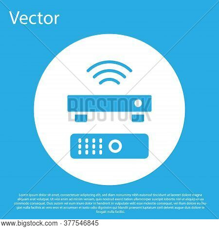 Blue Wireless Multimedia And Tv Box Receiver And Player With Remote Controller Icon Isolated On Blue