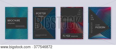Black Brochure Design Template Set. Red Abstract Lines On White Blue Background. Admirable Brochure