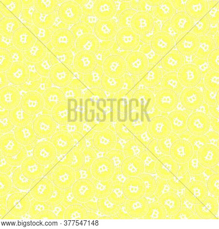 Bitcoin, Internet Currency Gold Coins Seamless Pattern. Splendid Scattered Yellow Btc Coins. Success