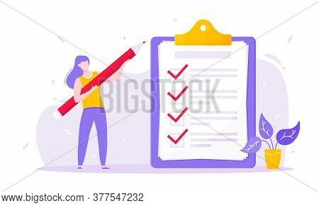 Task Done Business Concept Tiny Person, Pencil Nearby Giant Clipboard Complete Checklist And Check M