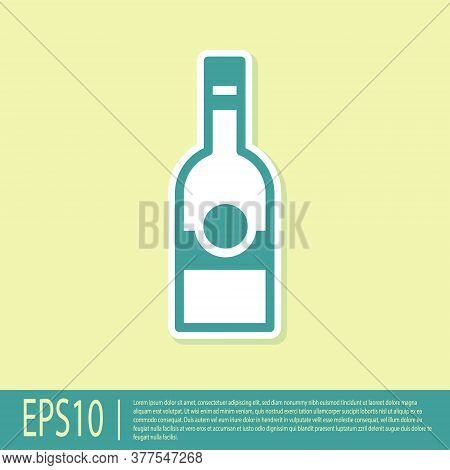 Green Glass Bottle Of Vodka Icon Isolated On Yellow Background. Vector