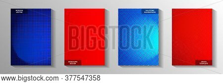 Random Point Screen Tone Gradation Cover Page Templates Vector Collection. Scientific Flyer Faded Sc