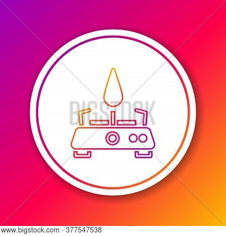 Color Line Camping Gas Stove Icon Isolated On Color Background. Portable Gas Burner. Hiking, Camping