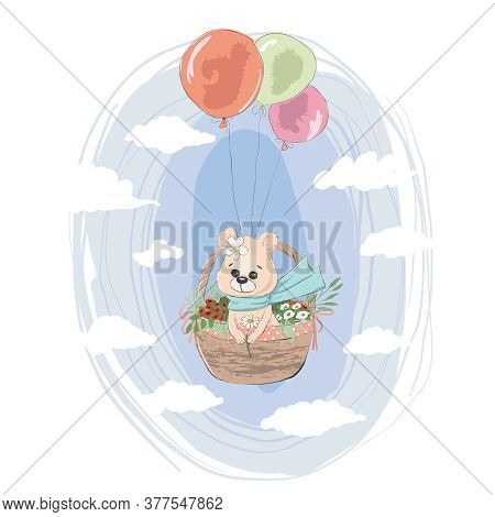 Cute Birthday Flies Teddy Bear With Balloons.