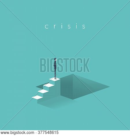Business Recession And Crisis Risk Or Danger. Looming Economic Depression, Stock Market Crash.