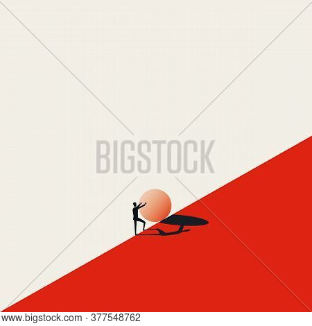 Business Challenge Vector Concept With Sisyphus Pushing Stone Uphill. Symbol Of Struggle, Strong Eff