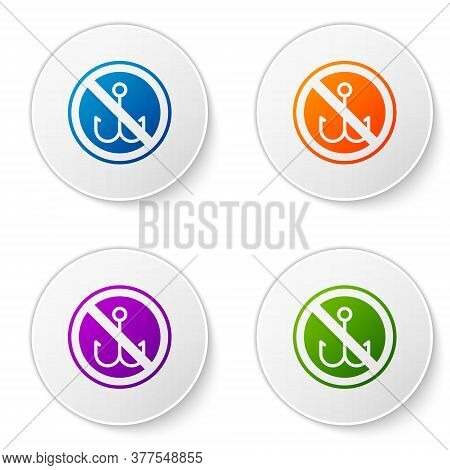 Color No Fishing Icon Isolated On White Background. Prohibition Sign. Set Icons In Circle Buttons. V