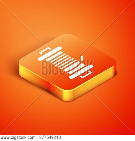 Isometric Spinning Reel For Fishing Icon Isolated On Orange Background. Fishing Coil. Fishing Tackle