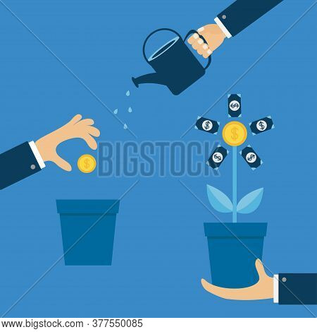 Three Step Infographic. Businessman Hand Holding Money Tree, Watering Can, Seed Coin Dollar Sign Fin