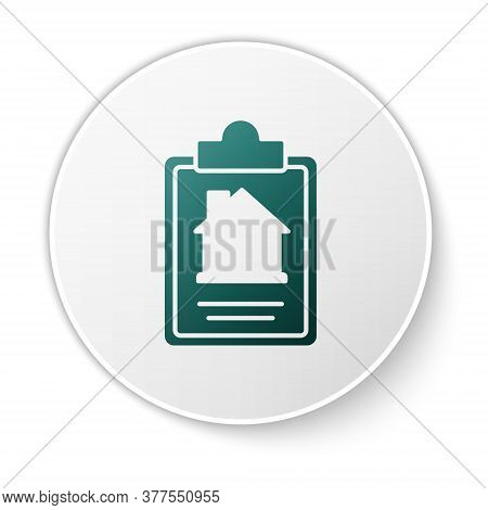 Green House Contract Icon Isolated On White Background. Contract Creation Service, Document Formatio