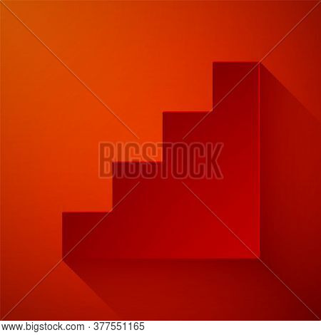 Paper Cut Staircase Icon Isolated On Red Background. Paper Art Style. Vector