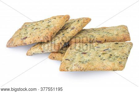 Salted Crispy Crackers With Sesame, Rosemary And Sunflower Seeds Isolated On White Background. Macro