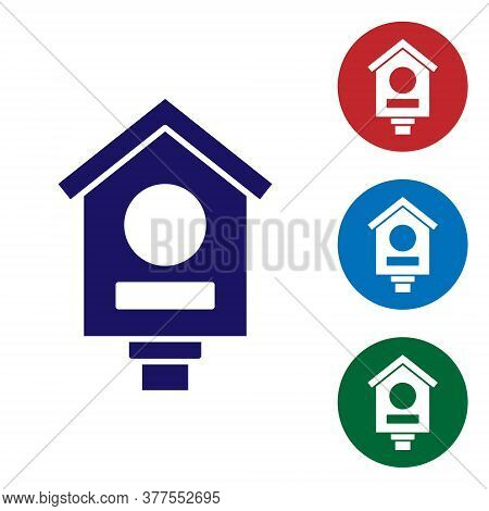 Blue Bird House Icon Isolated On White Background. Nesting Box Birdhouse, Homemade Building For Bird
