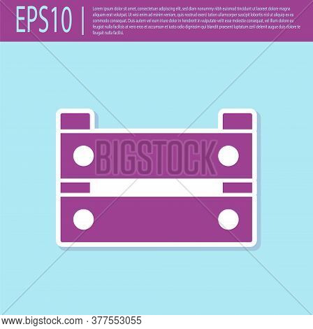 Retro Purple Wooden Box Icon Isolated On Turquoise Background. Grocery Basket, Storehouse Crate. Emp