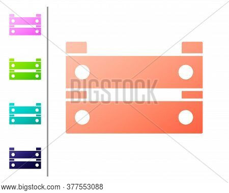 Coral Wooden Box Icon Isolated On White Background. Grocery Basket, Storehouse Crate. Empty Wooden C