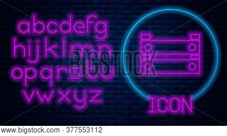 Glowing Neon Wooden Box Icon Isolated On Brick Wall Background. Grocery Basket, Storehouse Crate. Em