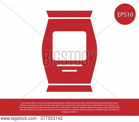 Red Fertilizer Bag Icon Isolated On White Background. Vector