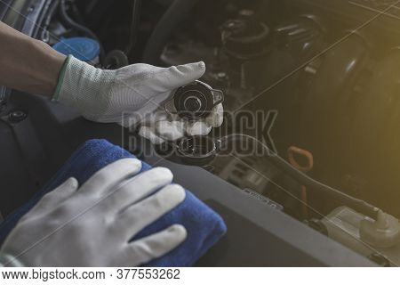 Technician Is Checking Car Radiator, Check Car Before Traveling, Close-up.