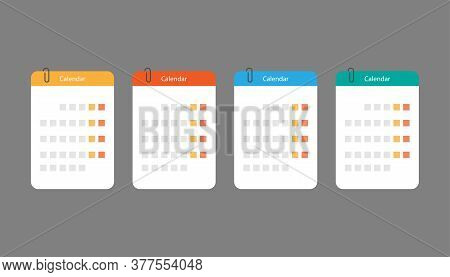 Set Of Calendar Icons In Flat Design. Isolated Month Timetable In Orange, Red, Blue And Green Colors
