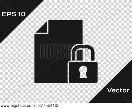 Black Document And Lock Icon Isolated On Transparent Background. File Format And Padlock. Security,