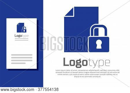 Blue Document And Lock Icon Isolated On White Background. File Format And Padlock. Security, Safety,