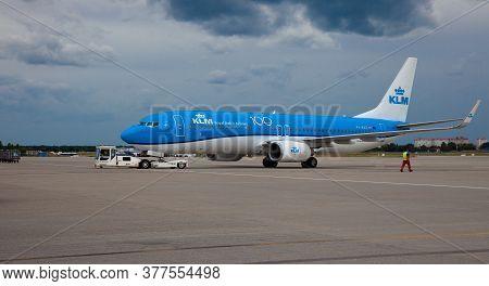Kyiv, Ukraine - July 14, 2020: Passanger Plane Ph-bxz Klm Royal Dutch Airlines Boeing 737-8k2 Wl . B