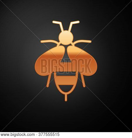 Gold Bee Icon Isolated On Black Background. Sweet Natural Food. Honeybee Or Apis With Wings Symbol.